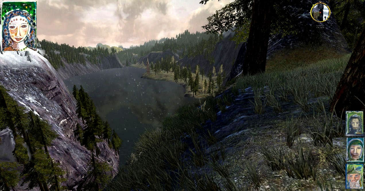 Blick auf den Spiegelsee im Schattenbachtal vom Nebelgebirge her, wie er sich Eowyn, Tom Bombadil, Aragorn und Faramir zeigte.