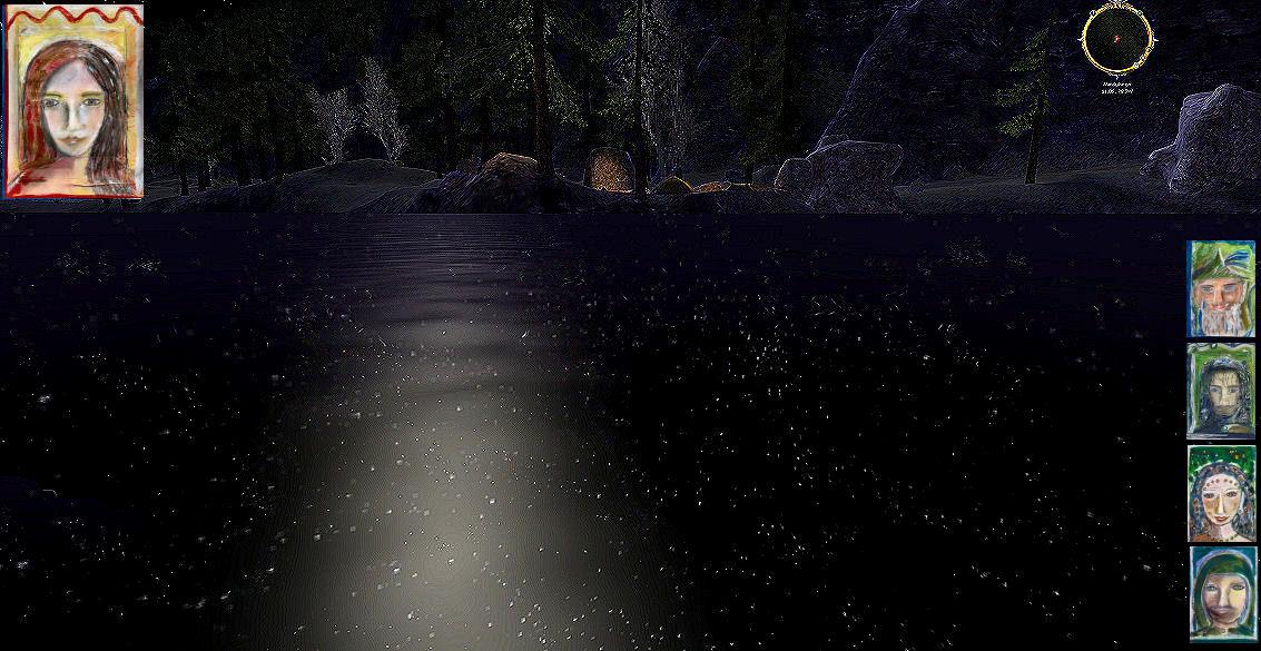 Luthien zeigt sich im Spiegelsee Tom Bombadil, Aragorn, Eowyn und Faramir.
